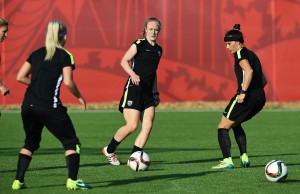 USA defender Becky Sauerbrunn (C) kicks a ball during a training session in Winnipeg, Manitoba, on June 11, 2015, on the eve of their 2015 FIFA Women's World Cup group D football match against Sweden. AFP PHOTO/JEWEL SAMAD (Photo credit should read JEWEL SAMAD/AFP/Getty Images)